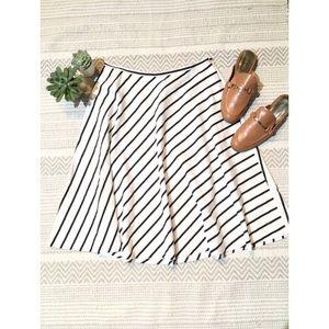 Ralph Lauren Stripe Cotton Midi Circle Skirt